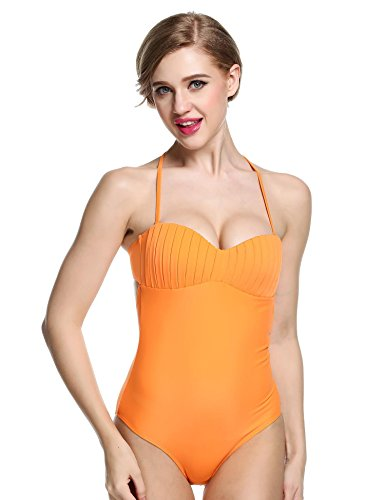 Wlone One Piece Padded Pin up Monokini Swimsuits for Women - Bandeau Monokini