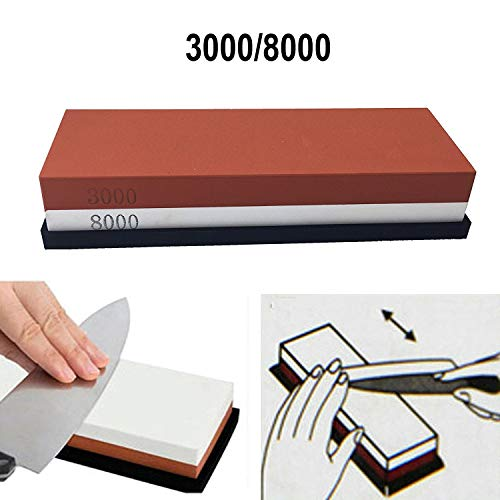 Double-Sided 3000-8000 Grit Premium Whetstone. Knife Sharpening Stone VALUE BUNDLE Kit. ENJOYABLE, Smooth, EFFORTLESS. NO-SLIP Base, Utmost SAFETY, Superior QUALITY, Perfect GIFT! by Cafolo ()