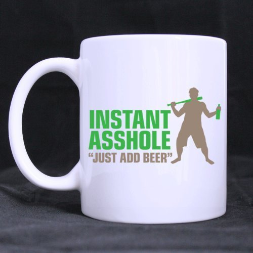 White Ceramic Mug Funny Joke Design INSTANT ASSHOLE