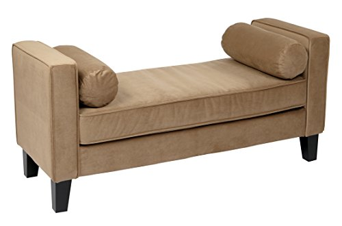 AVE SIX Curves Upholstered Bench with 2 Bolster Pillows and Espresso Finish Wood Legs, Coffee Velvet