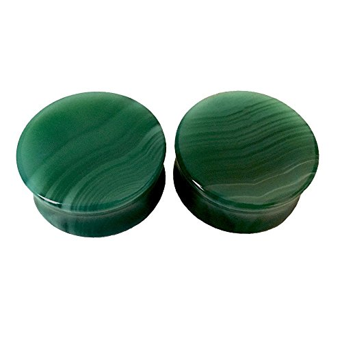 Green Agate Natural Stone Saddle Plugs - Sold as a Pair - Multiple Sizes Available (25mm (1