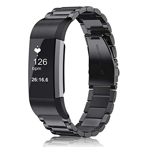 Fintie Compatible with Fitbit Charge 2 Bands, Premium Stainless Steel Metal Replacement Strap Wrist Band for Fitbit Charge 2 HR Smart Fitness Tracker, Black