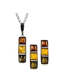 Sterling Silver Multicolor Amber Rectangular Set
