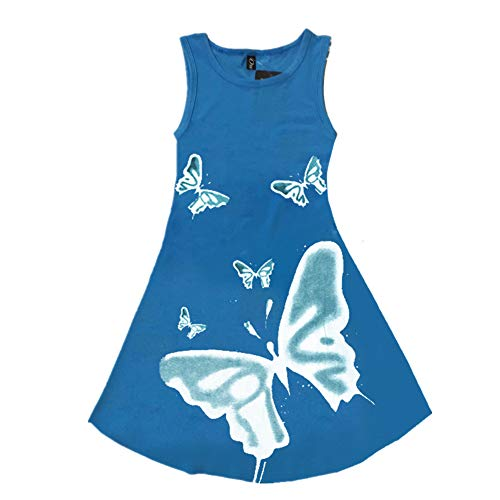 (FTSUCQ Girls Butterfly Printed Sundress Pinafore Dress (8-10 Years/140CM,)