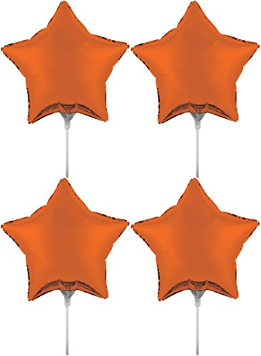 Set of 4 Foil Air Filled Balloons! Helium Free - Sticks and Joiner - Stars - Unique Themes - Party Balloons and Birthday Balloons Perfect for any Party Decoration! (4ct Orange 18