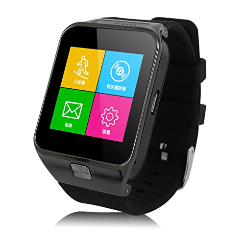 Fm Watch Cell Phone - CNPGD All-in-1 Watch Cell Phone & Smart Watch Sync to Android IOS Smart Phone (Black Plus)