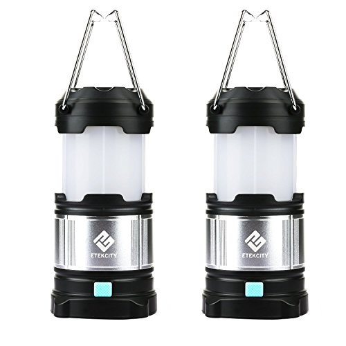 Etekcity 2 Pack Portable Rechargeable LED Camping Lantern, 4400mah USB Power Bank (Black)