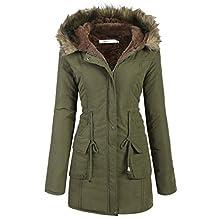 Meaneor Womens Hooded Warm Winter Faux Fur Lined Parkas Long Coats