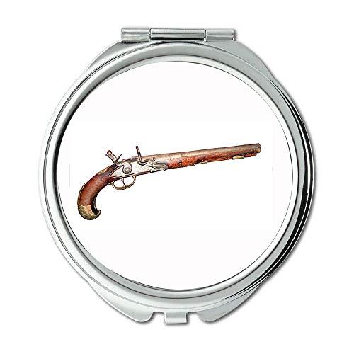 Yanteng Mirror,Travel Mirror,Pistol and Stamen,Round Mirror,Old Gun,Pocket Mirror,Portable Mirror