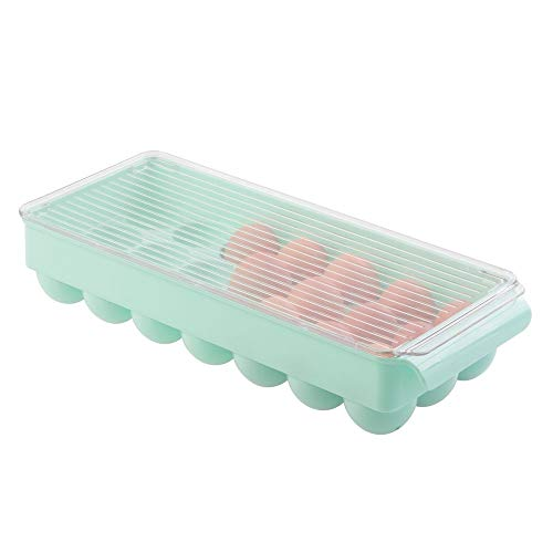 Inspired Egg Ornaments - mDesign Stackable Plastic Covered Egg Tray Holder, Storage Container and Organizer for Refrigerator, Carrier Bin with Lid and Handle - Holds 21 Eggs - Light Mint with Clear Lid