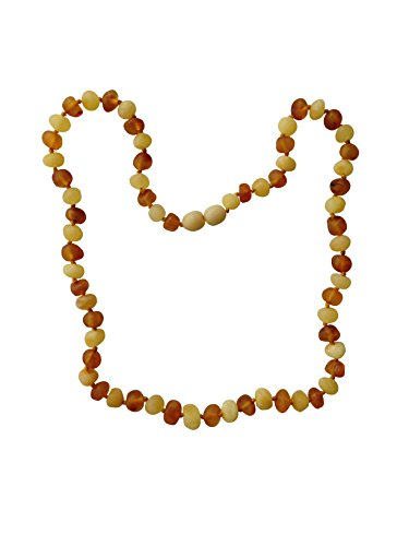 Raw Baltic Amber Adult Necklace- Milk & Honey Color - 18 inches Long - Anti-inflammatory - Natural Pain Relief for Carpel Tunnel, Arthritis, Sinus Pressure, Headaches and Migraines