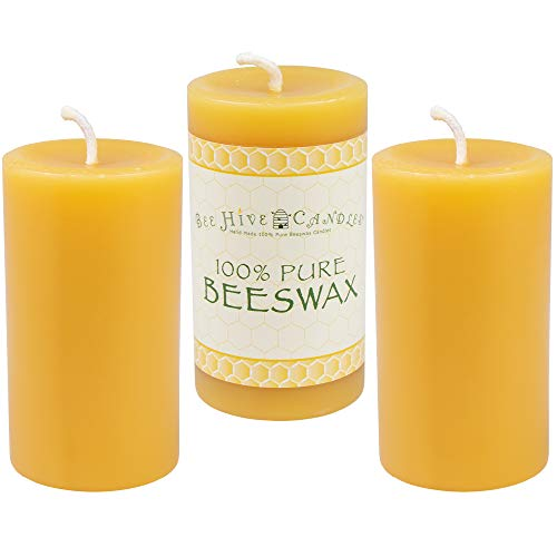 (Bee Hive Candles 100% Pure Beeswax Pillar Candle (2