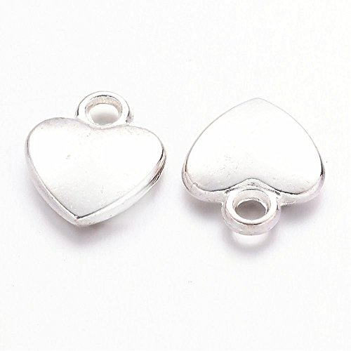 - Silver Plated Dainty Heart Charms for Bracelets & Jewelry Making- Lead & Nickel Free- 12mm or 3/8 inch