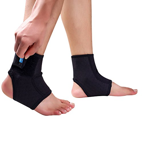 Ankle Brace,2 Pack Compression Support Sleeve with Adjustable Strap, Breathable Elastic Arch Support for Preventing Sprains, Perfect for Women Men Sport, Running, Basketball, Football – Large Size