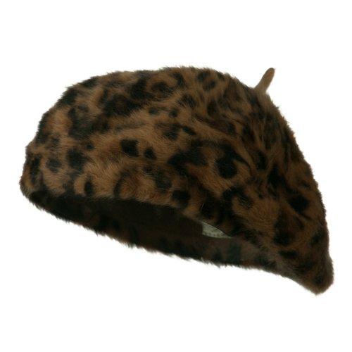 Cheetah Angora Beret -...