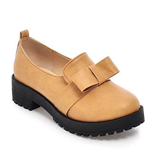 Amoonyfashion Donna Pull On Tacco Tacco Basso Tacco Alto Scarpe-scarpe Gialle
