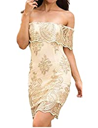 9c8dad7aae8 JWK Women s Off Shoulder Bodycon Lace Ruffled Embroidery Classic Dresses