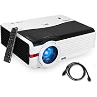 Caiwei 4200 Lumen Wxga LED Multimedia Movie Projector 1080P 5.8 TFT LCD Video Projectors Home Theater Cinema 200 Widescreen with HDMI2/USB2/AV/VGA/Aux Audio for Games Outdoor Entertainment