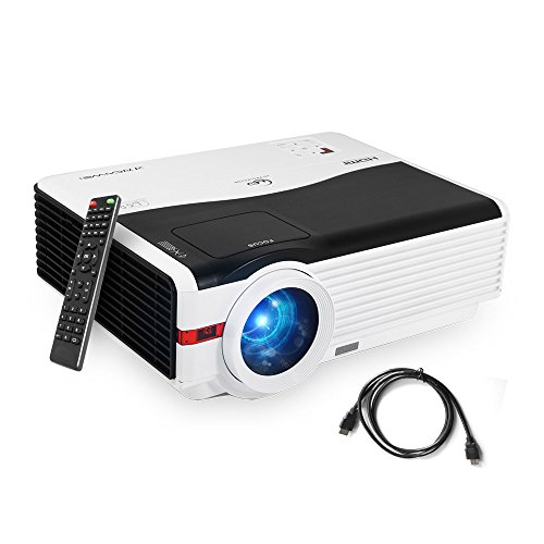 Caiwei 4200 Lumen Wxga LED Multimedia Movie Projector 1080P 5.8'' TFT LCD Video Projectors Home Theater Cinema 200'' Widescreen with HDMI2/USB2/AV/VGA/Aux Audio for Games Outdoor Entertainment by CAIWEI