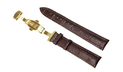 - RECHERE 18mm Alligator Grain Leather Watch Band Strap Gold Push Button Deployment Clasp Color Brown