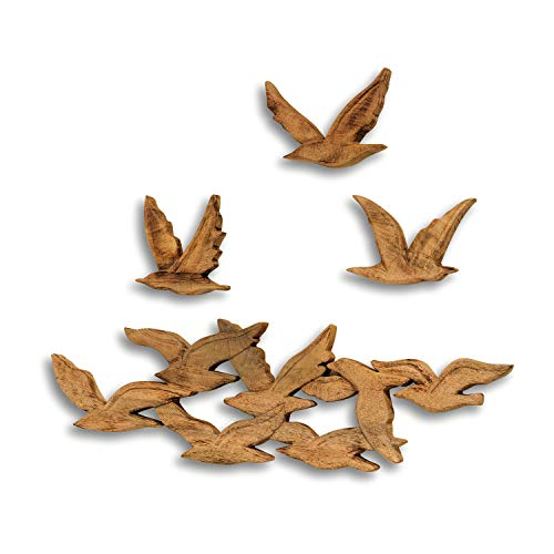 Whole House Worlds Large Cape Cod Flock 10 Flying Birds, Wall Art, Artisan Carved, Made Hand, Rustic, Natural Mango Wood, Over 2 Feet Wide, (26 3/4 L x 8 3/4 H inches) WHW -
