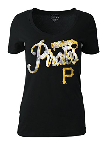 MLB Pittsburgh Pirates Women's Short Sleeve Cotton V-Neck Tee, Black, Medium