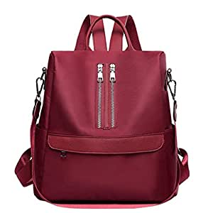 JpOTSUT Women Red Wild Oxford Cloth Backpack Multi-Function Waterproof Travel Backpack Outdoor Leisure Bag Female The North face Backpack