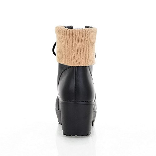 Closed with Solid Toe AmoonyFashion Lamb Boots Imitated Round Kitten Wool PU Bandage Black Womens Heels Tq7W4wn57