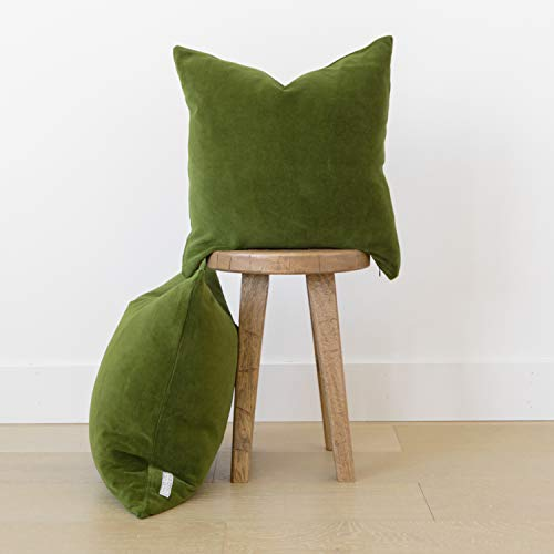 Woven Nook Decorative Velvet Throw Pillow Covers ONLY Set of 2 for Couch, Sofa, or Bed Modern Quality Design Velvet (22'' x 22'', Olive Green) ()