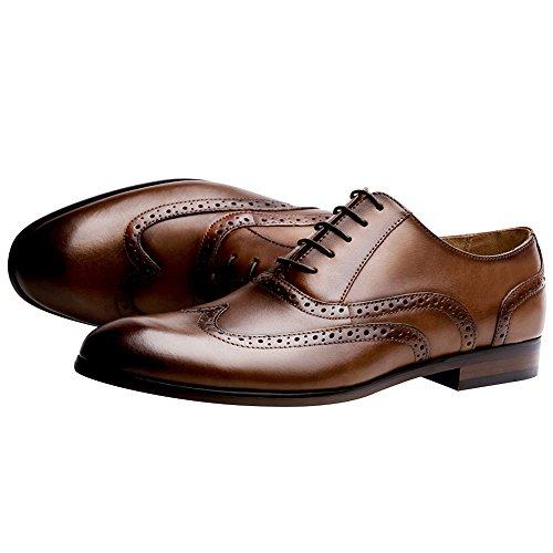 Brogue Taglia Formale Elegante Jamron da Sera Scarpe Oxfords Classico Marrone Uomo Vera Pelle Grande wnxxSFIRq