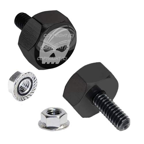 TrickToppers Hex Head Vivid Black Billet Aluminum Universal Motorcycle License Plate Frame Fastener Tag Bolt Kit with High Resolution Gloss Graphics - Grey G Skeleton Skull (2 Pcs)