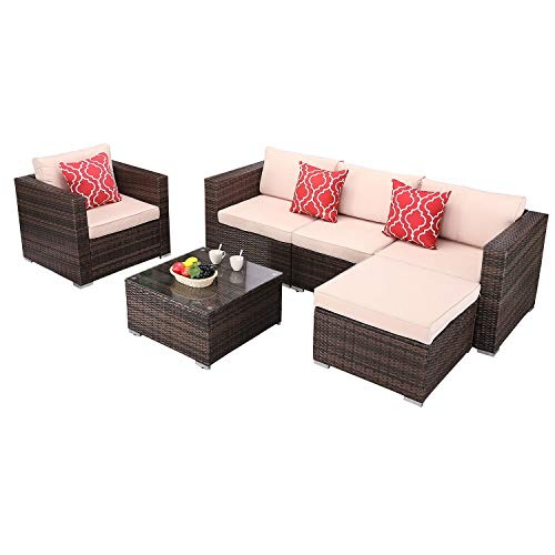Do4U 6 Pieces Outdoor Patio Furniture Sets Rattan Chair Wicker Set with Coffee Table Poolside Balcony Garden