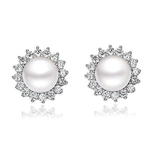 """Sunshine"" 8 9mm Freshwater Pearl with AAA Zirconia 925 Sterling Silver Stud Earrings (Earrings)"