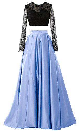 MACloth 2 Sleeve Party Long Elegant Evening Gown Formal Prom Himmelblau Piece Dress 2018 wwxrfq51
