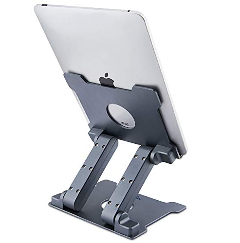 Tablet Stand,KABCON Adjustable Aluminum Tablets(7-13.5 inch) Holder for iPad 2017/2018,iPad Pro,Surface Pro Surface Pro 3 4,FIRD HD 10,Samsung Galaxy Tab E,ASUS Transformer with a Carry Bag-Space Grey