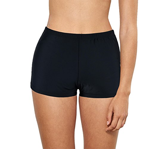 Firpearl Women's Boyleg Beach Swimwear Tankini Bottom Swim Brief Shorts High Waist Black - Women Black Bathing Suits In