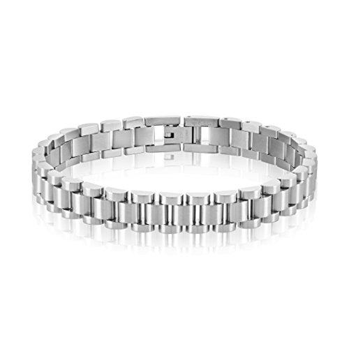 West Coast Jewelry | Crucible Presidential Eisenhower Style Three Row Silver Steel ½ inch Bracelet from West Coast Jewelry