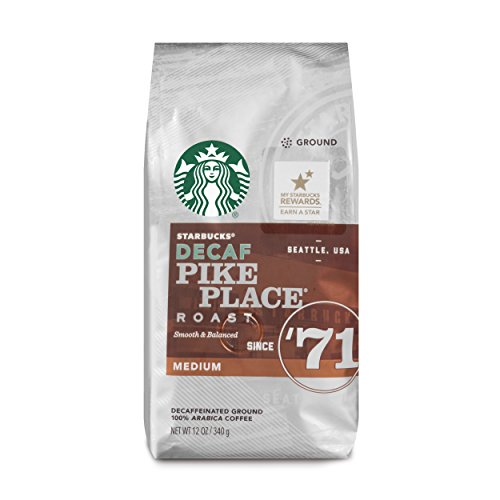 Starbucks Decaf Pike Place Roast Medium Roast Ground Coffee, 12-Ounce Bag (Pack of 6)