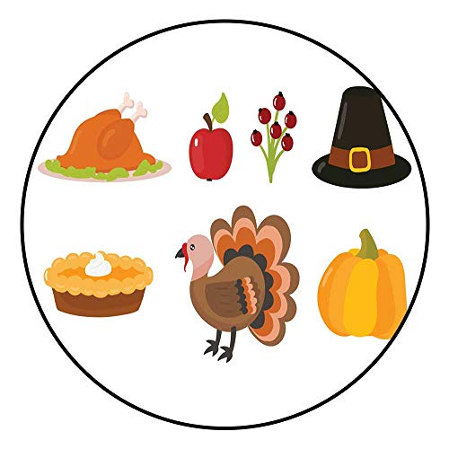 Hua Wu Chou Round Exercise matround BBQ Grill mat D3'/0.9m Happy Thanksgiving Day Symbols Design Holiday Objects Fresh Food Harvest Autumn Season Vector illustration1