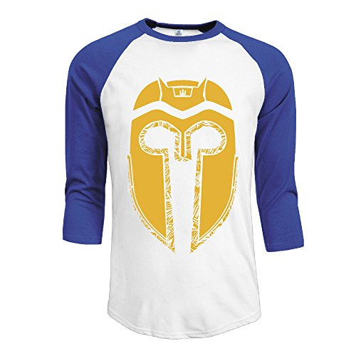 SUPERMORE Molon Helmet Red Army Brasil Men's 3/4 Sleeve 100% Cotton Baseball Tee/T Shirts RoyalBlue