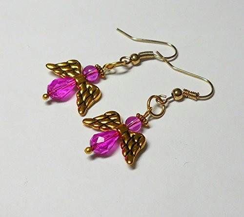 - Fuchsia, Lavender-Pink and Gold Angel Earrings by BethExpressions