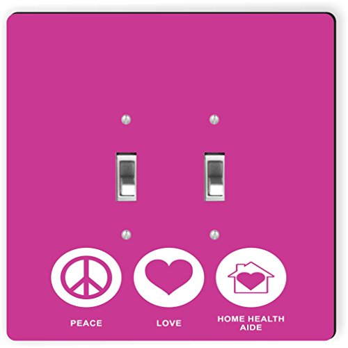 Rikki Knight 42255 Double Toggle Peace Love Home Health Aide Rose Pink Color Design Light Switch Plate by Rikki Knight