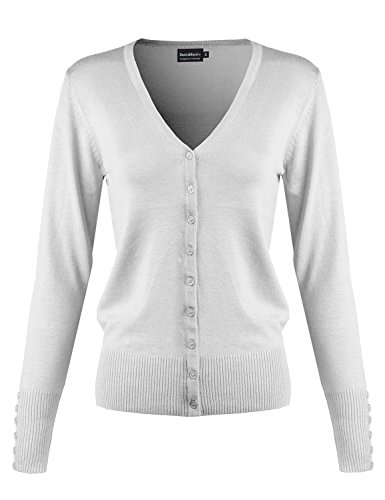 Button Down V-Neck Long Sleeve Soft Knit Cardigan Sweater White (Lodge Airport)