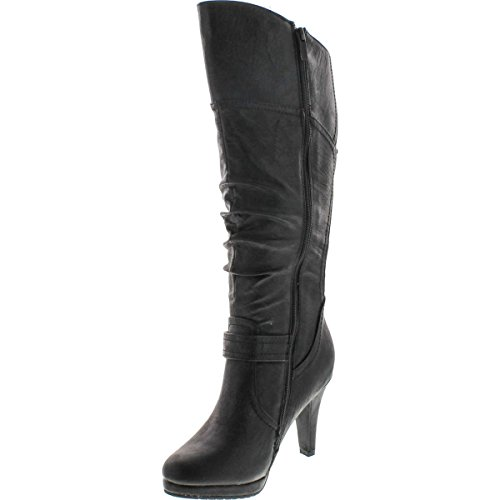 Top Moda Women's Knee Lace-up High Heel Boots - stylishcombatboots.com