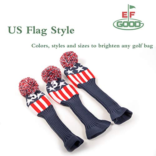 GOODEF Golf Club Head Covers for Woods US Flag Knit Red Head 3pcs Cover Driver Fairway Wood Hybrid Vintange Pom Pom Sock Headcover for 1 3 5 Size Free Golf Club Brush