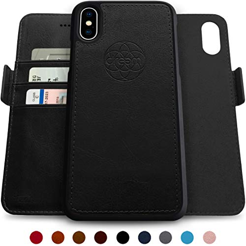 Dreem Fibonacci 2-in-1 Wallet-Case for iPhone Xs Max Magnetic Detachable Shock-Proof TPU Slim-Case, Wireless Charge, RFID Protection, 2-Way Stand, Luxury Vegan Leather, Gift-Box - Black
