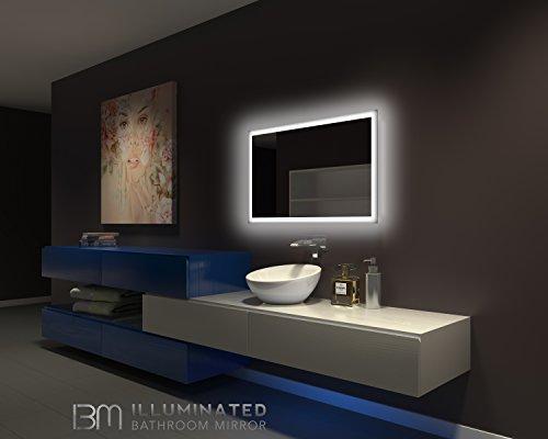 Backlit bathroom mirror 40 x 24 in buy online in uae for Where can i buy bathroom mirrors