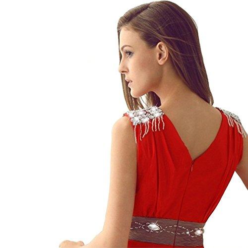 Rot Drasawee Damen Rot Kleid Empire rwOIfqOY