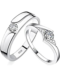 Jewelry Mens Womens Silver Plated Adjustable Ring Cubic Zirconia Wedding Ring Promise Ring Couples Ring