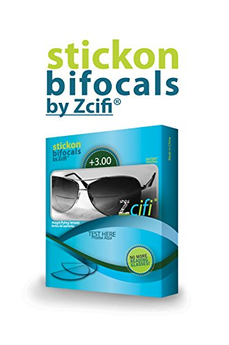 Stick-on Bifocals by Zcifi +3.00, - For On Bifocals Sunglasses Stick